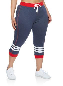 Plus Size Contrast Trim Capri Sweatpants - 0951038348612