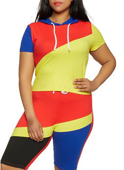 Plus Size Color Block Hooded Top - 0951063401986