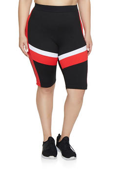 Plus Size Color Block Active Bike Shorts - 0951063401996