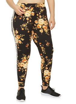 Plus Size Love Graphic Floral Joggers - 0951072240046