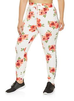 Plus Size Graphic Tape Trim Floral Joggers - 0951072240048