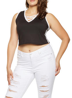 Plus Size Caged Neck Tank Top - 0951072240213