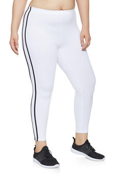 Plus Size Side Stripe Leggings - 0951072240214