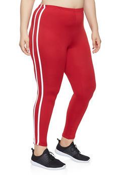 Plus Size Side Stripe Leggings - 0951072240214