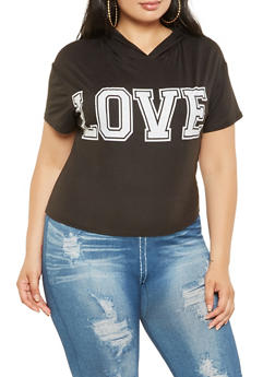 Plus Size Love Graphic Hooded Tee - 0951072241004