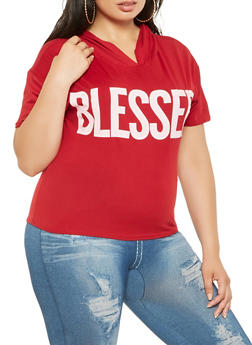 Plus Size Blessed Graphic Hooded Tee - 0951072241006