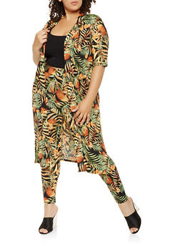 Plus Size Tropical Print Duster - 0951074280053