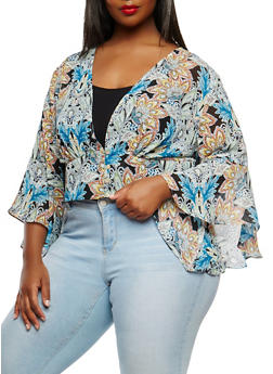 Plus Size Printed Plunging Neckline Top - 0951074280361