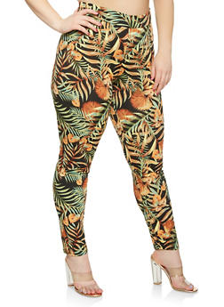 Plus Size Leaf Print Pants - 0951074280452