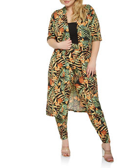 Plus Size Tropical Print Duster - 0951074280453
