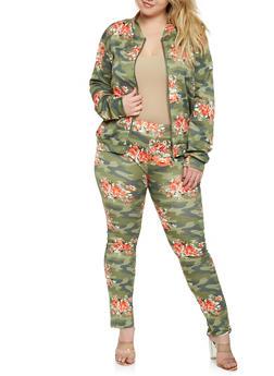 Plus Size Floral Camo Bomber Jacket - 0951074280454