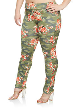 Plus Size Floral Camo Leggings - 0951074280455
