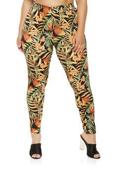 Plus Size Tropical Print Leggings - 0951074280520