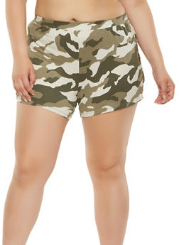 Plus Size Camo Lace Up Shorts - 0960001440379