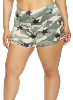 Plus Size Star Print Caged Camo Shorts - 0960001441137