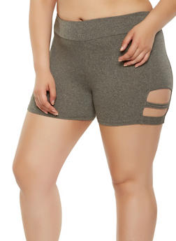 Plus Size Soft Knit Caged Bike Shorts - 0960001441372