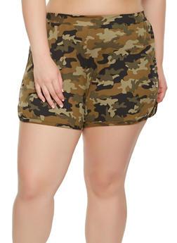 Plus Size Grommet Detail Camo Shorts - 0960001441380