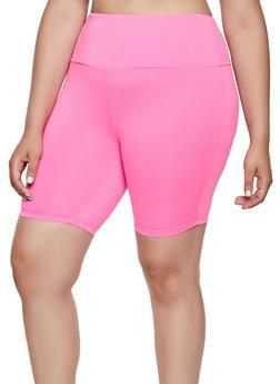 Plus Size Neon Soft Knit Bike Shorts - 0960001441466