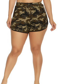 Plus Size Soft Knit Camo Dolphin Shorts - 0960001443782