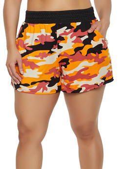Plus Size Crochet Band Camo Shorts - 0960001444441