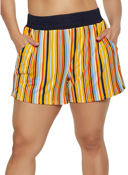 Plus Size Crochet Band Striped Shorts - 0960001444494
