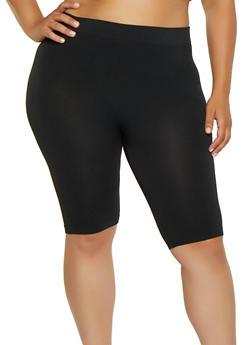 Plus Size Solid Bike Shorts - 0960041450004