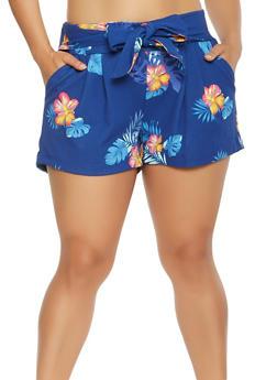 Plus Size Floral Tie Front Shorts - 0960056570195
