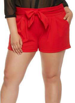 Plus Size Tie Front Shorts - 0960056573277