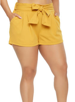 Plus Size Tie Front Shorts - 0960056573277