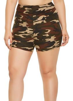 Plus Size Camo Bike Shorts - 0960060580374