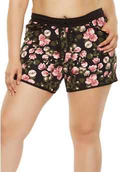 Plus Size Floral Soft Knit Shorts - 0960060582730