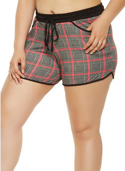 Plus Size Plaid Soft Knit Shorts - 0960060583369