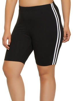 Plus Size Black Stripe Shorts