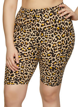 Plus Size Brown Print Shorts