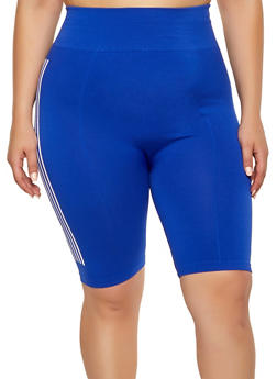 Womens Plus Size Blue Stripe Shorts