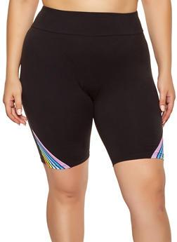Plus Size Rainbow Stripe Detail Bike Shorts - Black - Size 2X - 0960061636019
