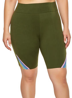 Plus Size Rainbow Stripe Detail Bike Shorts - 0960061636019