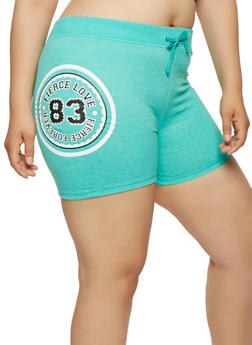 Plus Size Graphic Athletic Shorts - 0960062703206