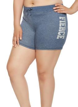Plus Size Graphic Athletic Shorts - 0960062703206