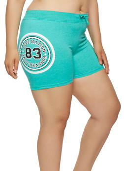 Plus Size Love Graphic Athletic Shorts - 0960062703210