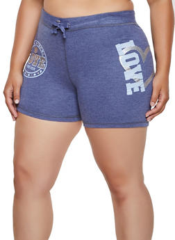 Plus Size Love Forever French Terry Sweat Shorts - 0960062703273