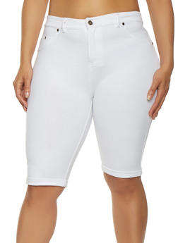 Plus Size Knit Bermuda Shorts - 0960062705206