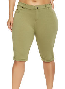 Plus Size Knit Bermuda Shorts - 0960062705206