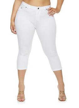Plus Size Knit Capri Pants - 0960062705207