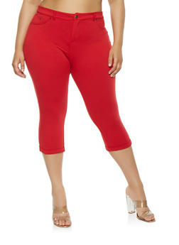 Plus Size Knit Capri Pants - 0960062705207