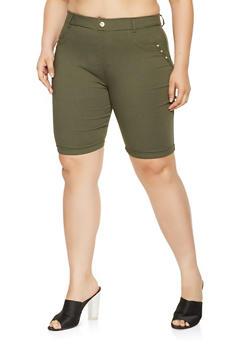 Plus Size Studded Bermuda Shorts - 0960063400244