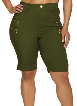 Plus Size Zipper Detail Knit Bermuda Shorts - 0960063402088