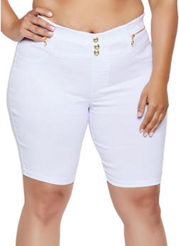 Plus Size Pull On Stretch Bermuda Shorts - 0960063402090