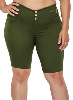 Plus Size Pull On Stretch Bermuda Shorts - 0960063402090