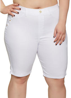 Plus Size Stretch Pull On Bermuda Shorts - 0960063402440